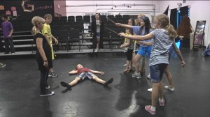 Students rehearsing in Harry Potter Class