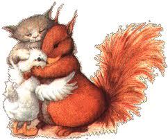 duck, cat, and squirrel hugging