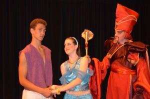 Jayson Agli as Aladdin, Boston Taylor as Jasmine, and Alex Veysey as Jafar bring this classic Disney story to life